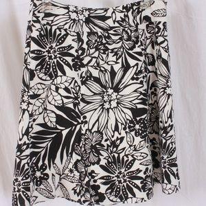 Gap black/white floral linen blend skirt